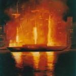 U110-Fireship-oil-on-paper-