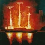 U114-Fireship-oil-on-paper-