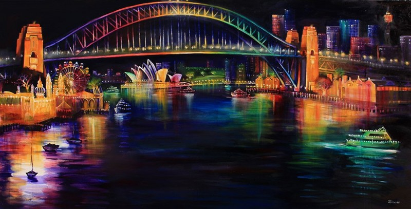 Vivid – Sydney Harbour Bridge  from Lavendar Bay Rainbow lights